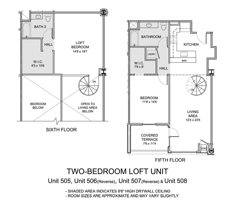 superb two story condo floor plans #9: Two Bedroom Loft
